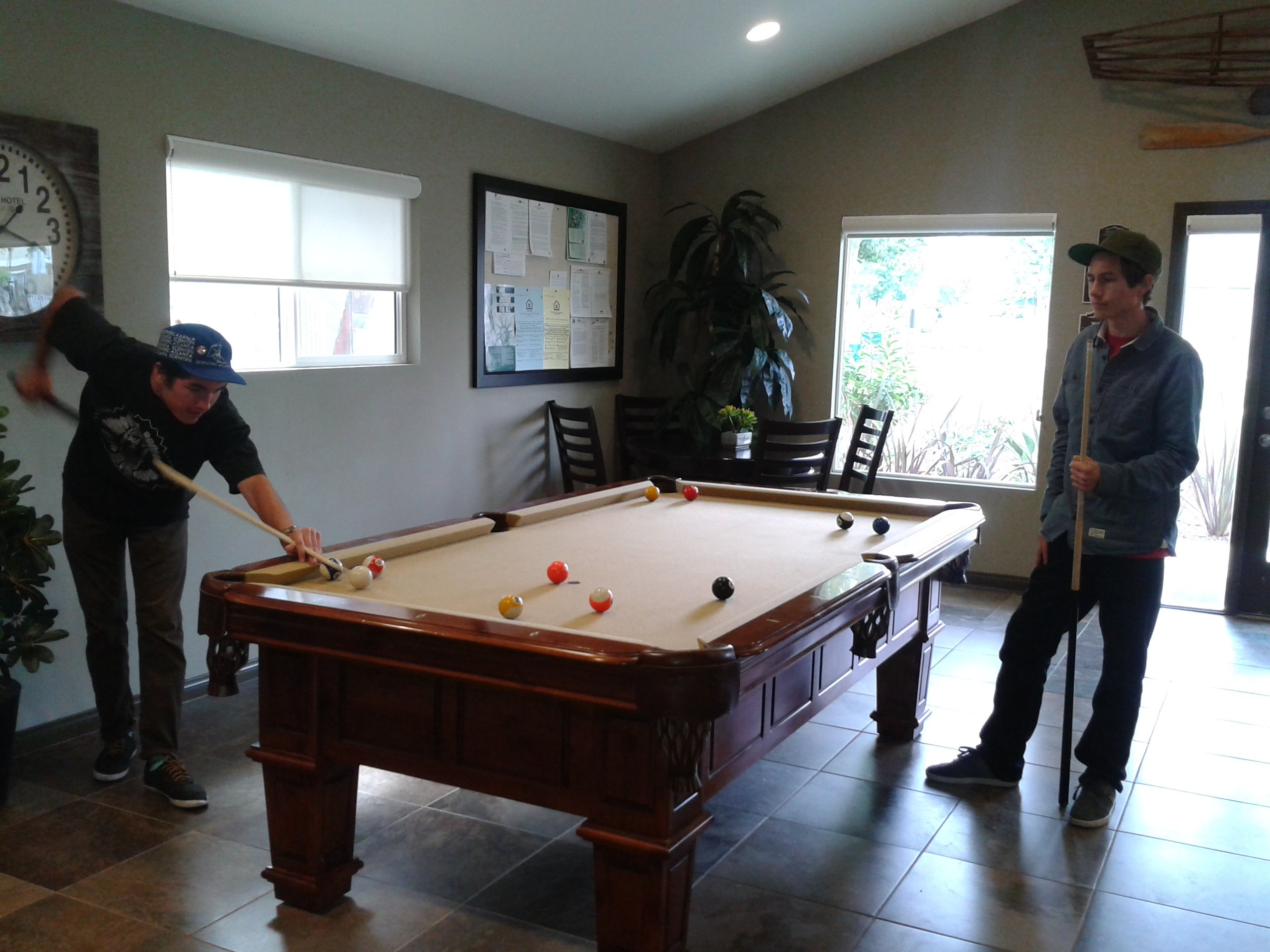 """The installment of the fine game of billiards has made the management office a real shot to the corner pocket.""
